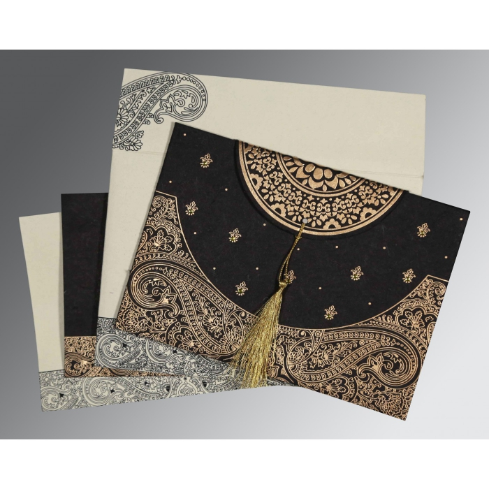 Black Handmade Cotton Embossed Wedding Card : W-8234A - 123WeddingCards