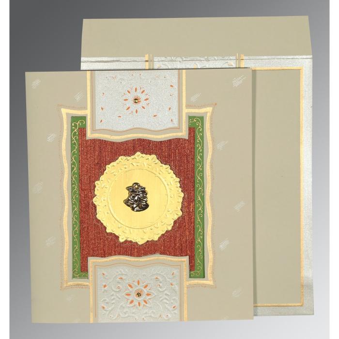KHAKI MATTE EMBOSSED WEDDING CARD : C-1144 - 123WeddingCards