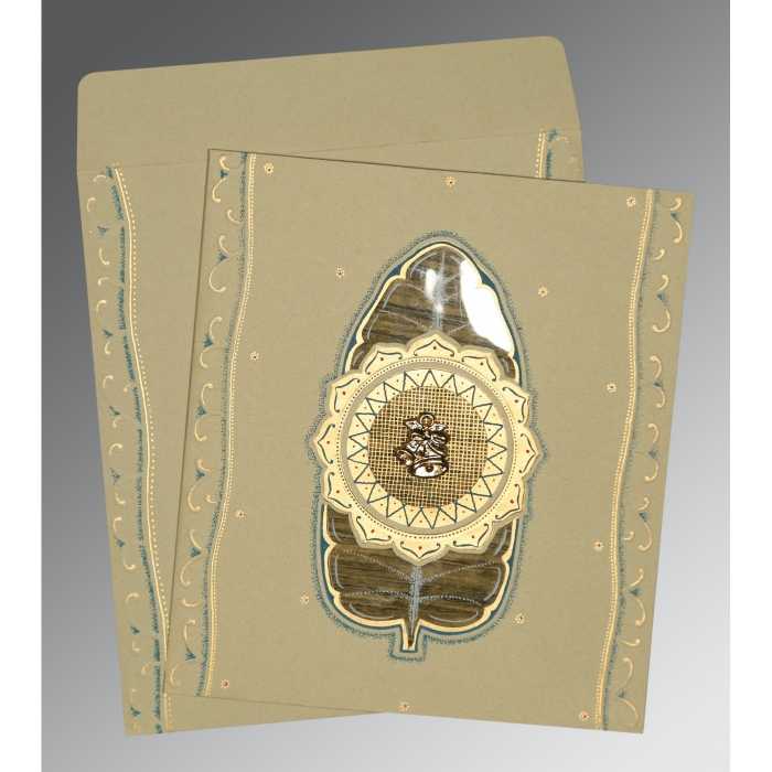 KHAKI MATTE EMBOSSED WEDDING CARD : C-1194 - 123WeddingCards