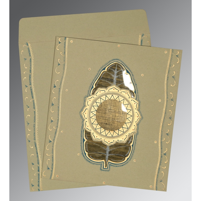 KHAKI MATTE EMBOSSED WEDDING CARD : D-1194 - 123WeddingCards