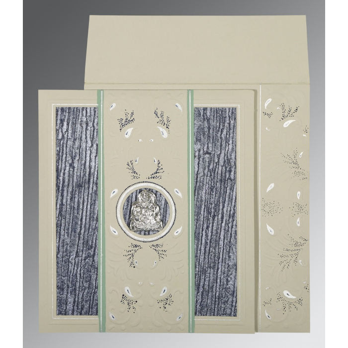 Black Matte Embossed Wedding Card : G-1261 - 123WeddingCards
