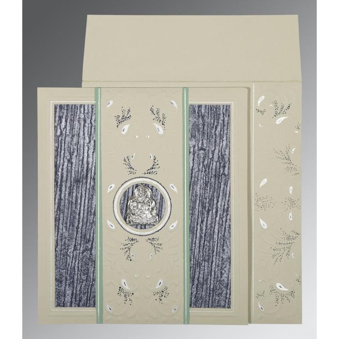 Black Matte Embossed Wedding Card : G-1261 - 123WeddingCards