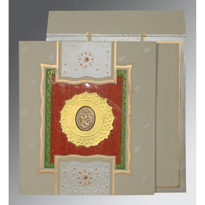 Black Matte Embossed Wedding Card : I-1144 - 123WeddingCards