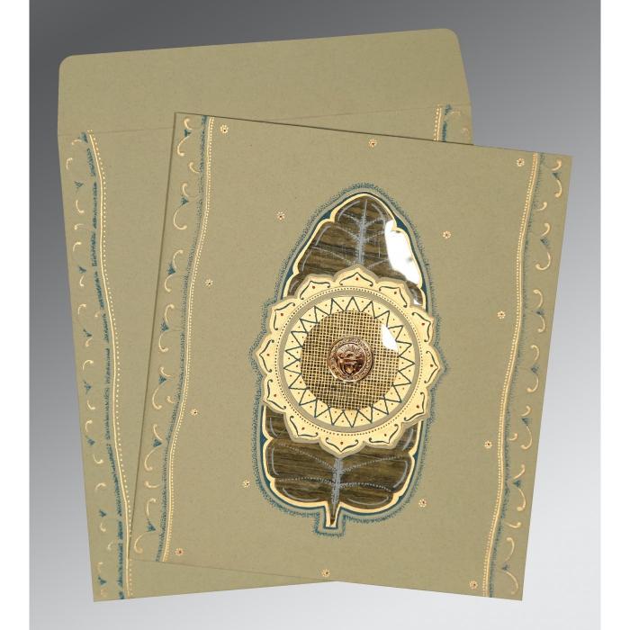 Black Matte Embossed Wedding Card : RU-1194 - 123WeddingCards