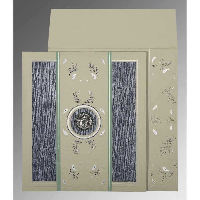 Black Matte Embossed Wedding Card : RU-1261 - 123WeddingCards