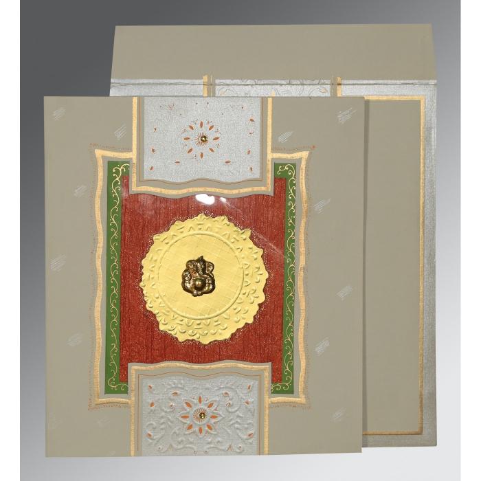 KHAKI MATTE EMBOSSED WEDDING CARD : W-1144 - 123WeddingCards