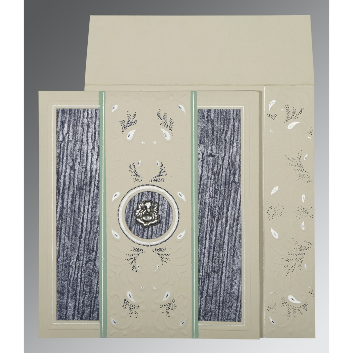 Black Matte Embossed Wedding Card : W-1261 - 123WeddingCards