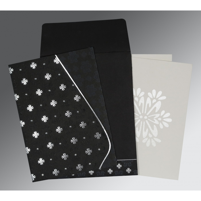 BLACK MATTE FLORAL THEMED - FOIL STAMPED WEDDING INVITATION : D-8237H - 123WeddingCards
