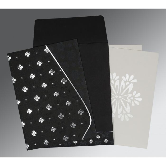 Black Matte Floral Themed - Foil Stamped Wedding Invitation : I-8237H - 123WeddingCards