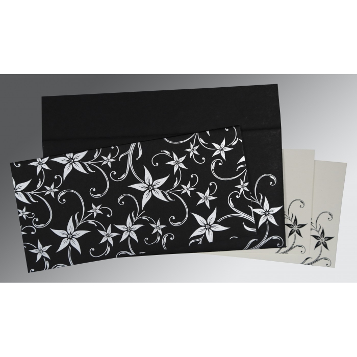 BLACK MATTE FLORAL THEMED - SCREEN PRINTED WEDDING INVITATION : D-8225A - 123WeddingCards