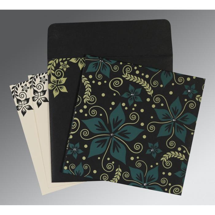 Black Matte Floral Themed - Screen Printed Wedding Invitation : RU-8240A - 123WeddingCards