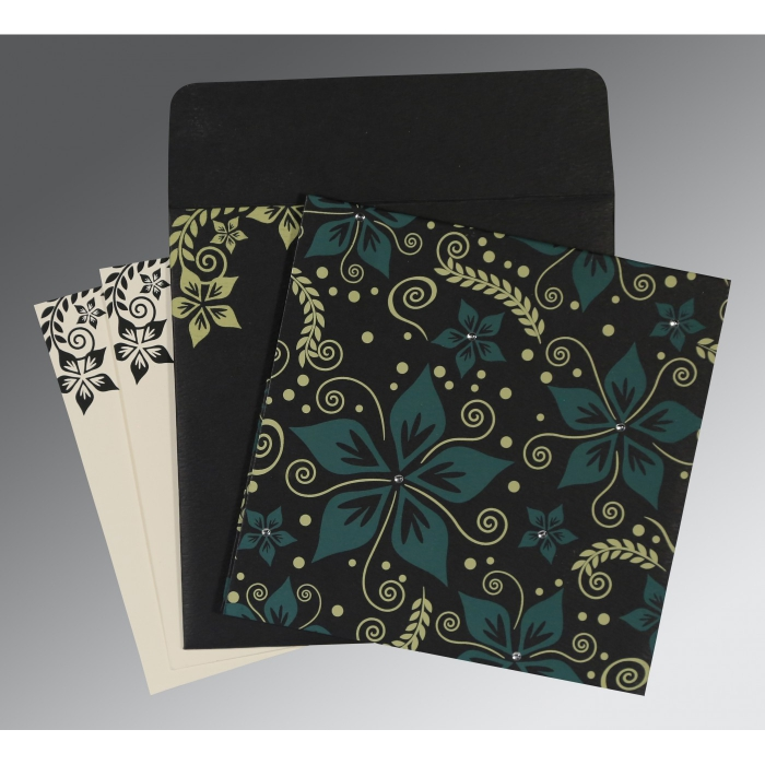 Black Matte Floral Themed - Screen Printed Wedding Invitation : S-8240A - 123WeddingCards