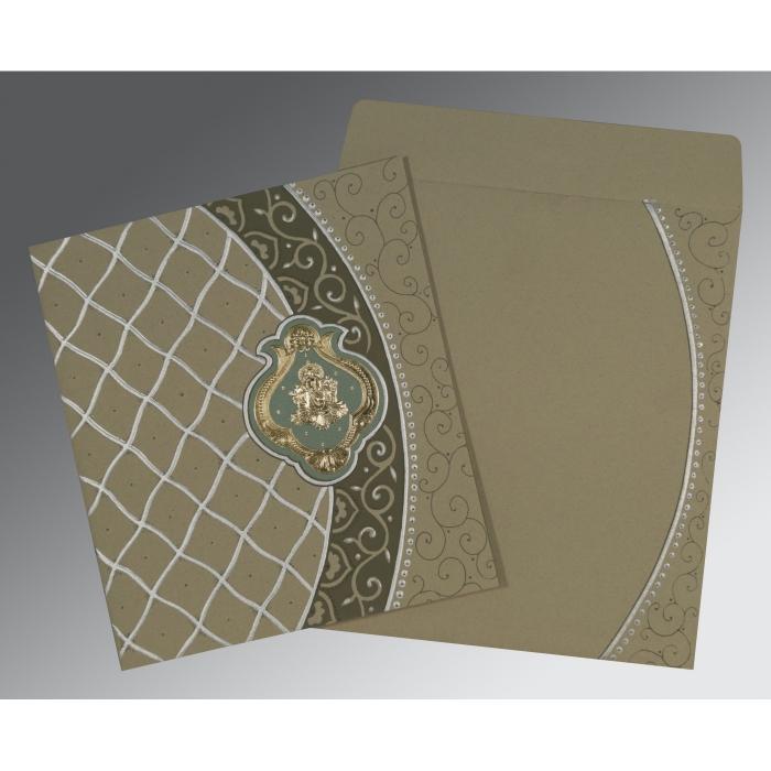 Black Matte Foil Stamped Wedding Card : W-2114 - 123WeddingCards