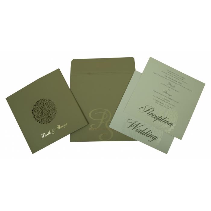 DEEP SAGE MATTE FLORAL THEMED - LASER CUT WEDDING INVITATION : C-1815 - 123WeddingCards