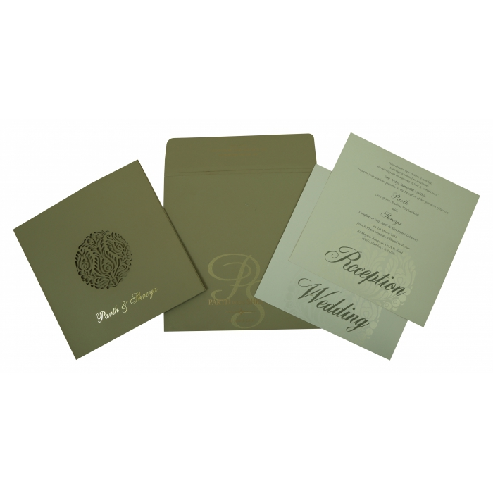 DEEP SAGE MATTE FLORAL THEMED - LASER CUT WEDDING INVITATION : D-1815 - 123WeddingCards