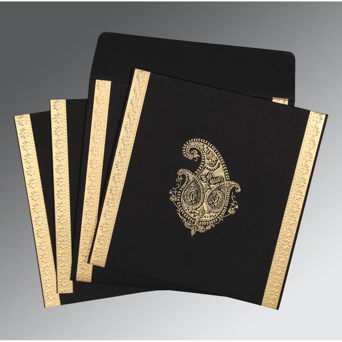 Black Matte Paisley Themed - Embossed Wedding Invitation : S-8231I - 123WeddingCards