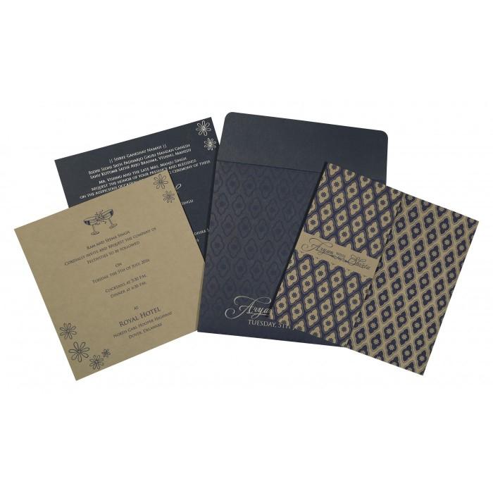 Black Matte Screen Printed Wedding Invitation : W-8263F - 123WeddingCards