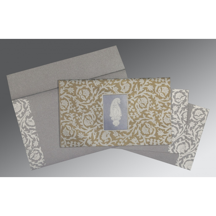 GREY SCREEN PRINTED WEDDING INVITATION : W-1371 - 123WeddingCards