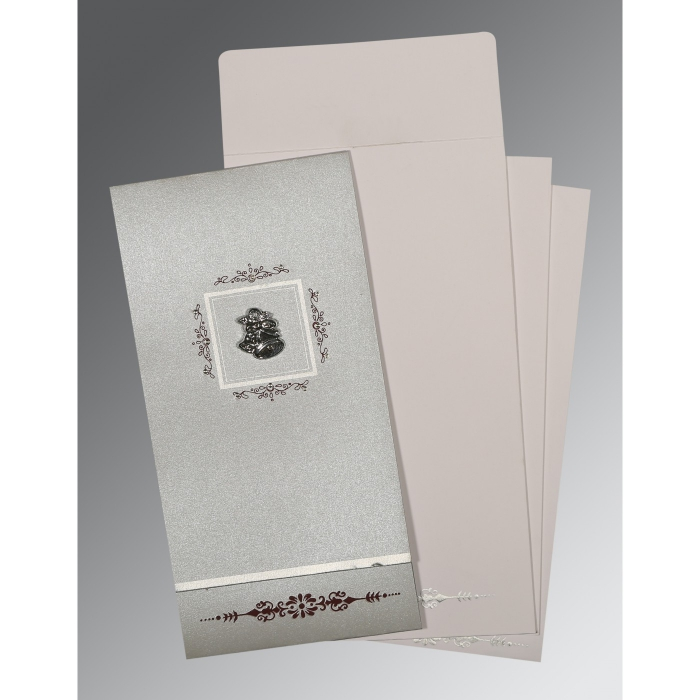 LIGHT GREY SHIMMERY EMBOSSED WEDDING CARD : C-1427 - 123WeddingCards