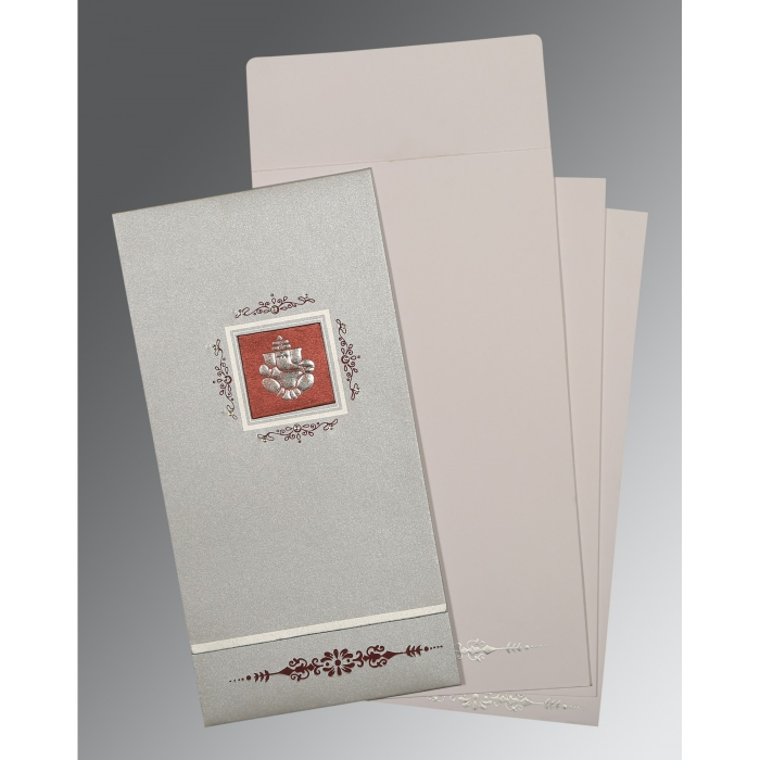 LIGHT GREY SHIMMERY EMBOSSED WEDDING CARD : W-1427 - 123WeddingCards