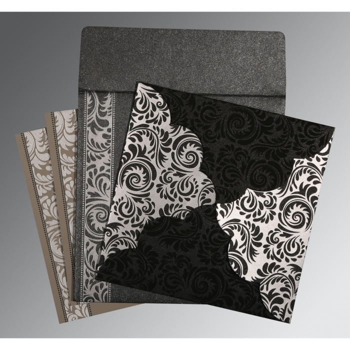 Black Shimmery Floral Themed - Screen Printed Wedding Card : IN-8235I - 123WeddingCards