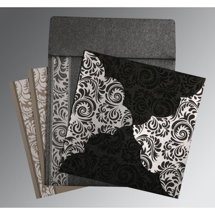 Black Shimmery Floral Themed - Screen Printed Wedding Card : RU-8235I - 123WeddingCards