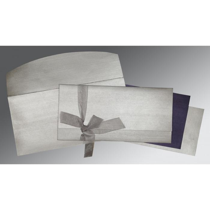 LIGHT GREY SHIMMERY SCREEN PRINTED WEDDING CARD : C-1498 - 123WeddingCards