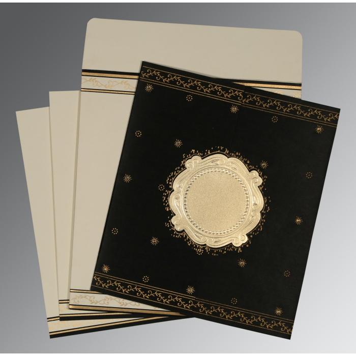 Black Wooly Embossed Wedding Invitation : D-8202K - 123WeddingCards