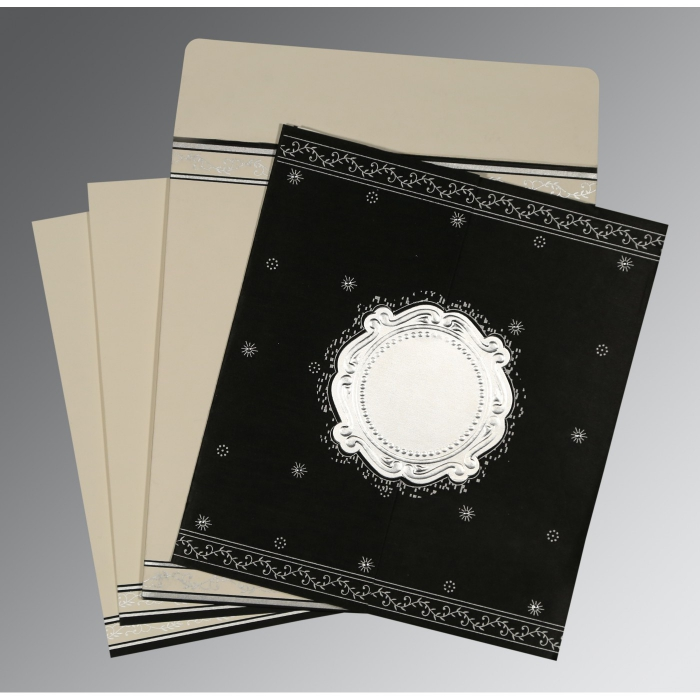 Black Wooly Embossed Wedding Invitations : D-8202L - 123WeddingCards