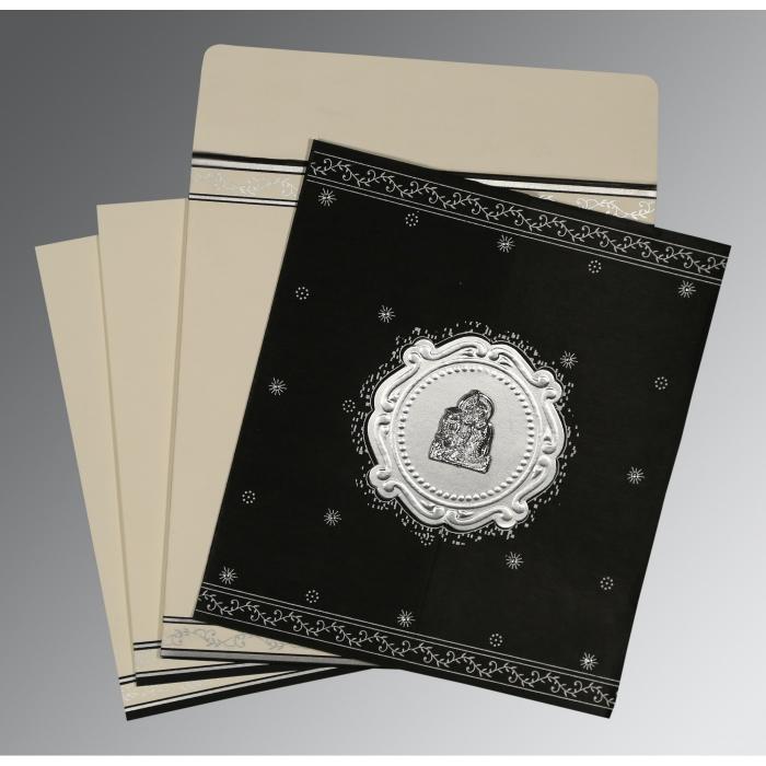 Black Wooly Embossed Wedding Invitation : G-8202L - 123WeddingCards