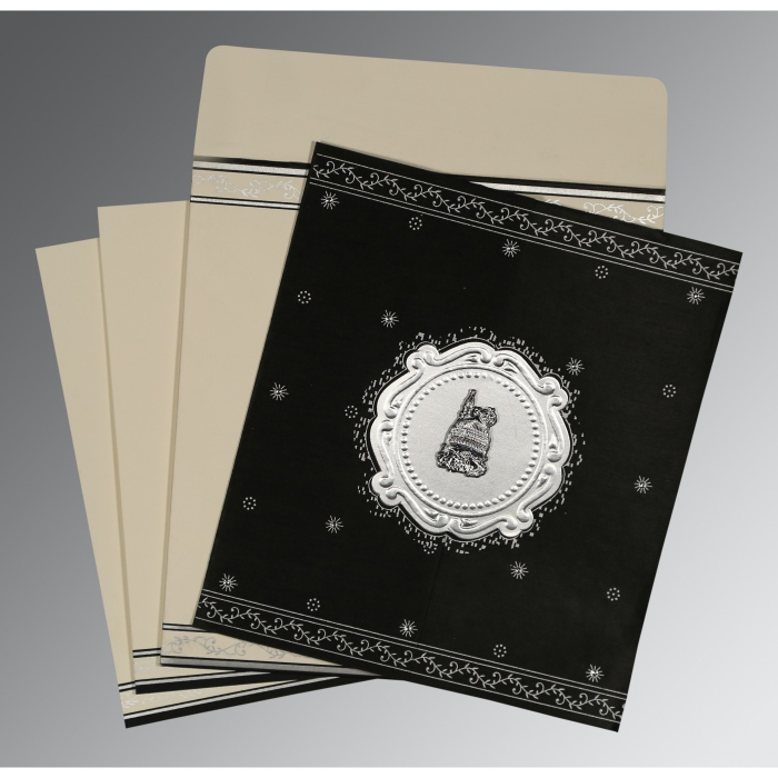 Black Wooly Embossed Wedding Invitation : I-8202L - 123WeddingCards