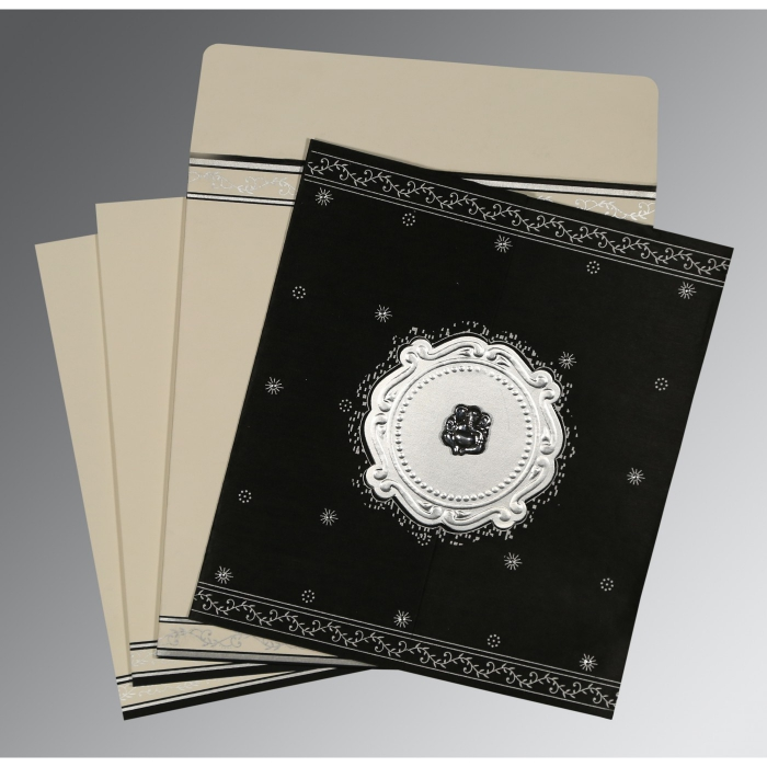 Black Wooly Embossed Wedding Invitation : IN-8202L - 123WeddingCards