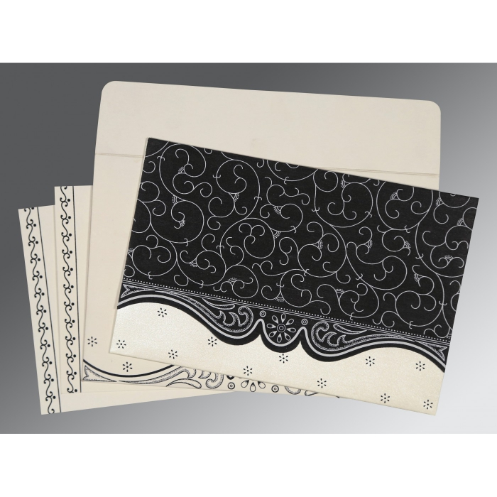 Black Wooly Embossed Wedding Invitation : IN-8221N - 123WeddingCards