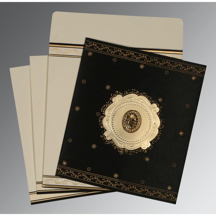 Black Wooly Embossed Wedding Invitation : RU-8202K - 123WeddingCards