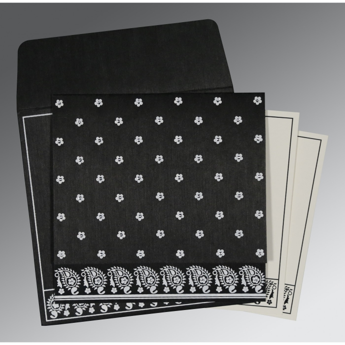 Black Wooly Floral Themed - Screen Printed Wedding Invitations : C-8218L - 123WeddingCards