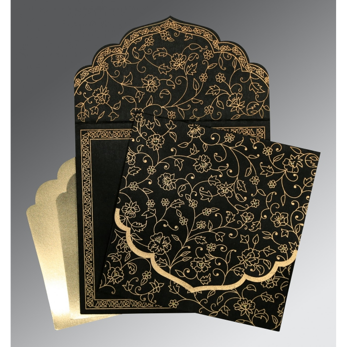 BLACK WOOLY FLORAL THEMED - SCREEN PRINTED WEDDING INVITATION : D-8211N - 123WeddingCards