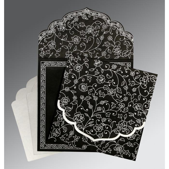 Black Wooly Floral Themed - Screen Printed Wedding Invitation : G-8211B - 123WeddingCards