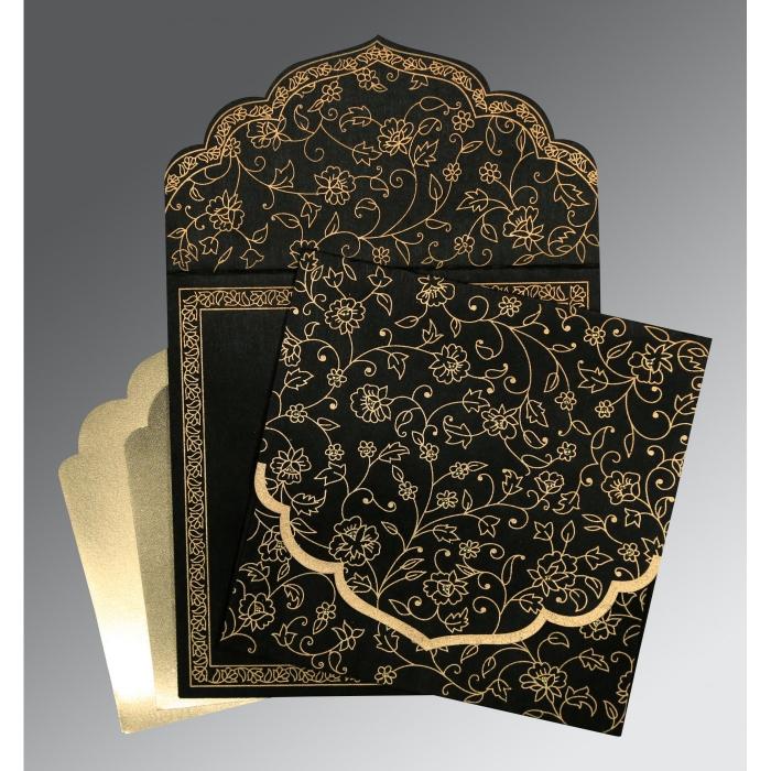 Black Wooly Floral Themed - Screen Printed Wedding Invitation : I-8211N - 123WeddingCards
