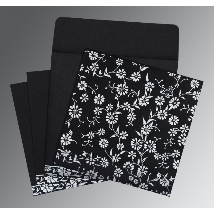 Black Wooly Floral Themed - Screen Printed Wedding Card : IN-8222J - 123WeddingCards