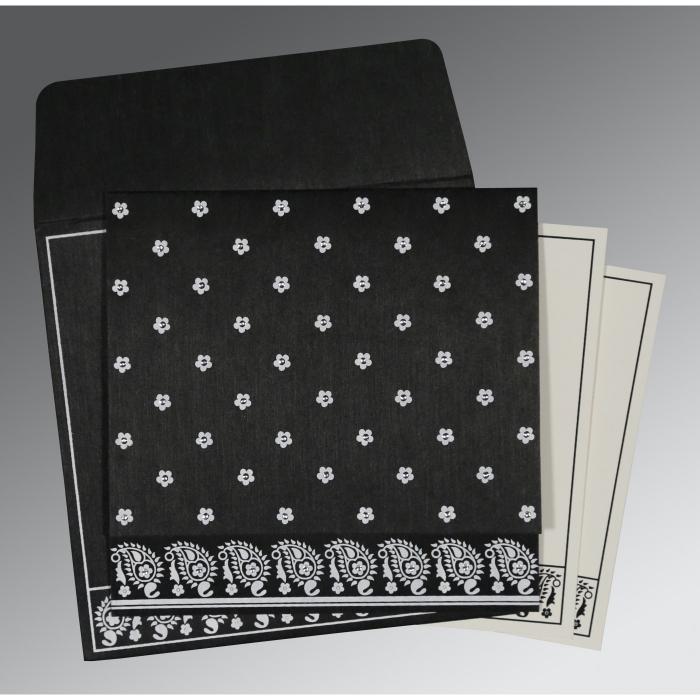Black Wooly Floral Themed - Screen Printed Wedding Card : RU-8218L - 123WeddingCards