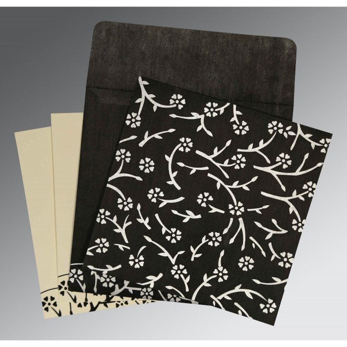 Black Wooly Floral Themed - Screen Printed Wedding Invitation : S-8216N - 123WeddingCards