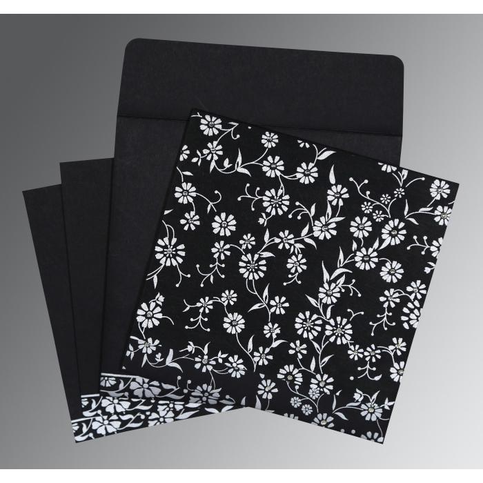 Black Wooly Floral Themed - Screen Printed Wedding Card : SO-8222J - 123WeddingCards