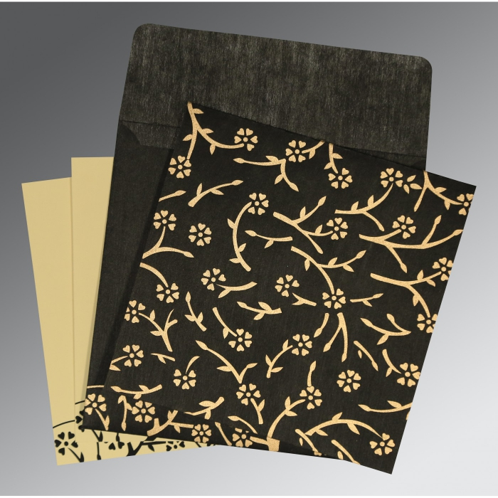 Black Wooly Floral Themed - Screen Printed Wedding Invitation : W-8216K - 123WeddingCards