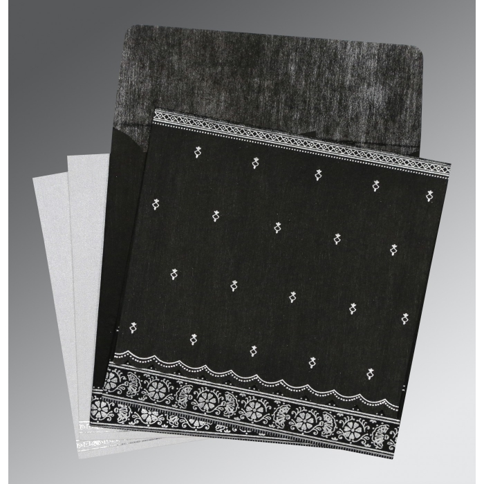 Black Wooly Foil Stamped Wedding Invitations : D-8242B - 123WeddingCards