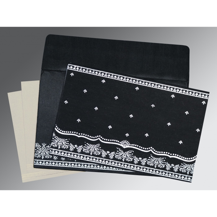 Black Wooly Foil Stamped Wedding Invitations : IN-8241O - 123WeddingCards