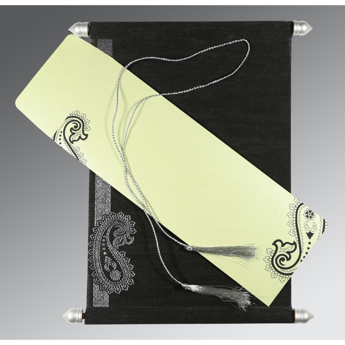 Black Wooly Foil Stamped Wedding Card : SC-5015C - 123WeddingCards