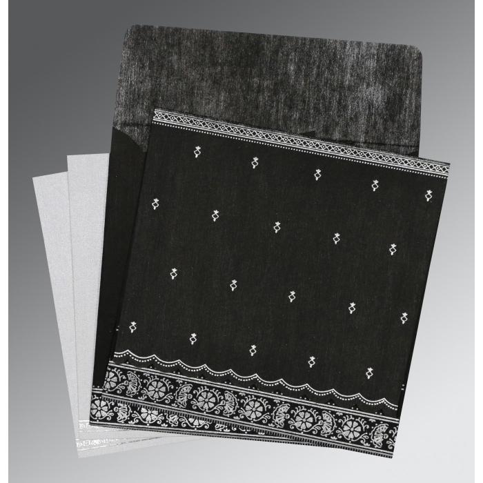 BLACK WOOLY FOIL STAMPED WEDDING CARD : W-8242B - 123WeddingCards
