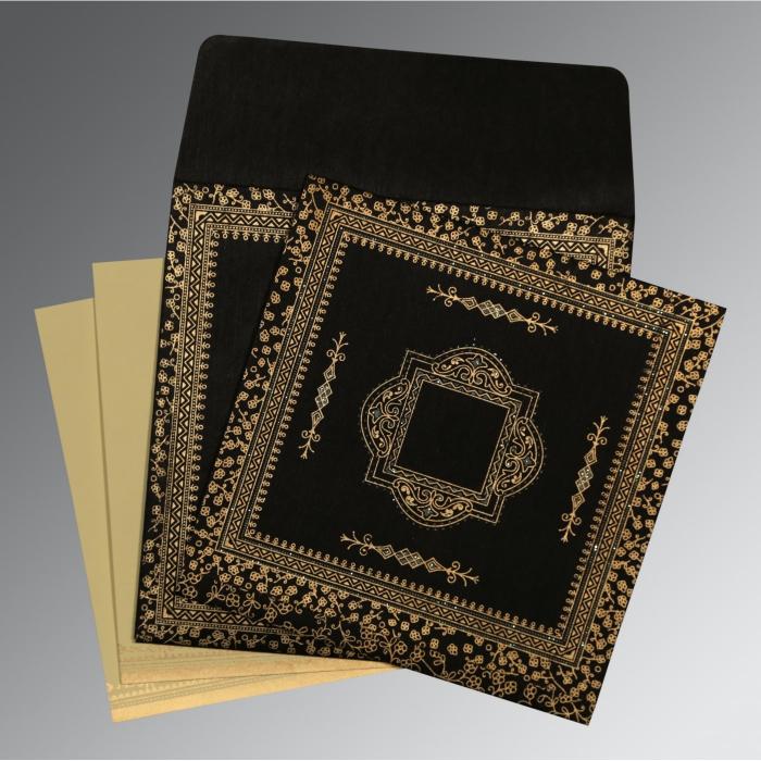 BLACK WOOLY GLITTER WEDDING CARD : D-8205K - 123WeddingCards