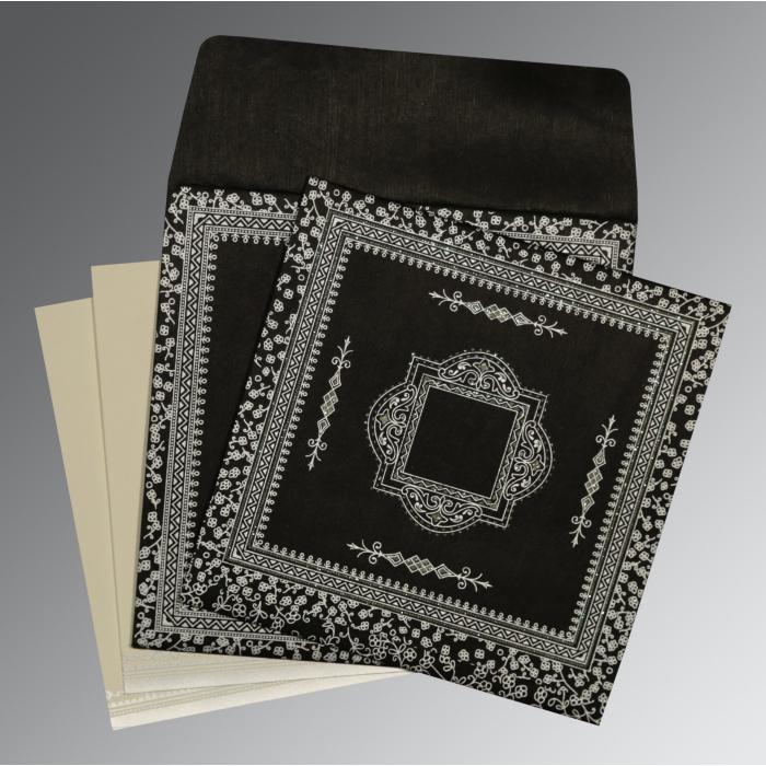 Black Wooly Glitter Wedding Card : D-8205L - 123WeddingCards