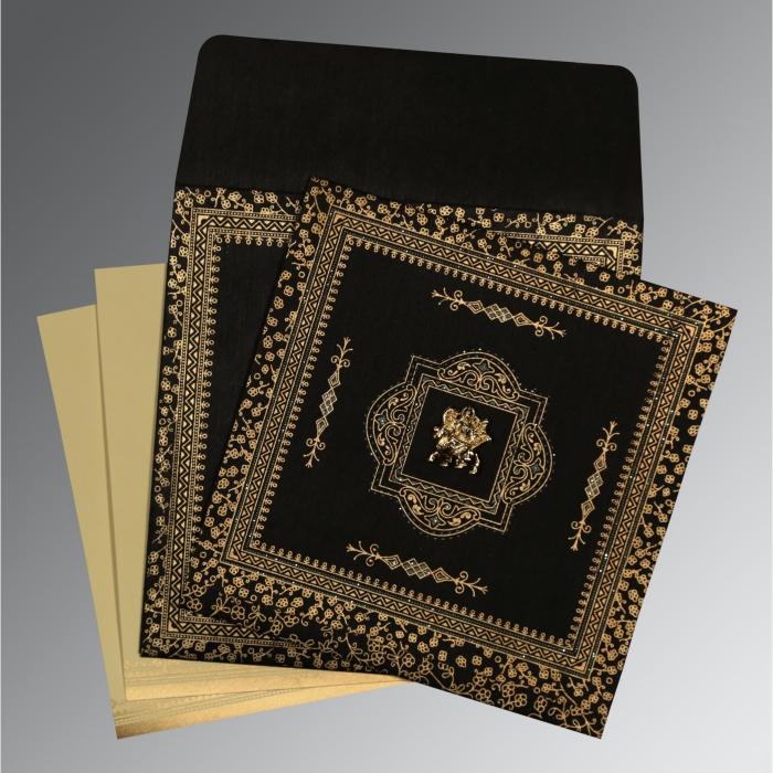 Black Wooly Glitter Wedding Card : G-8205K - 123WeddingCards